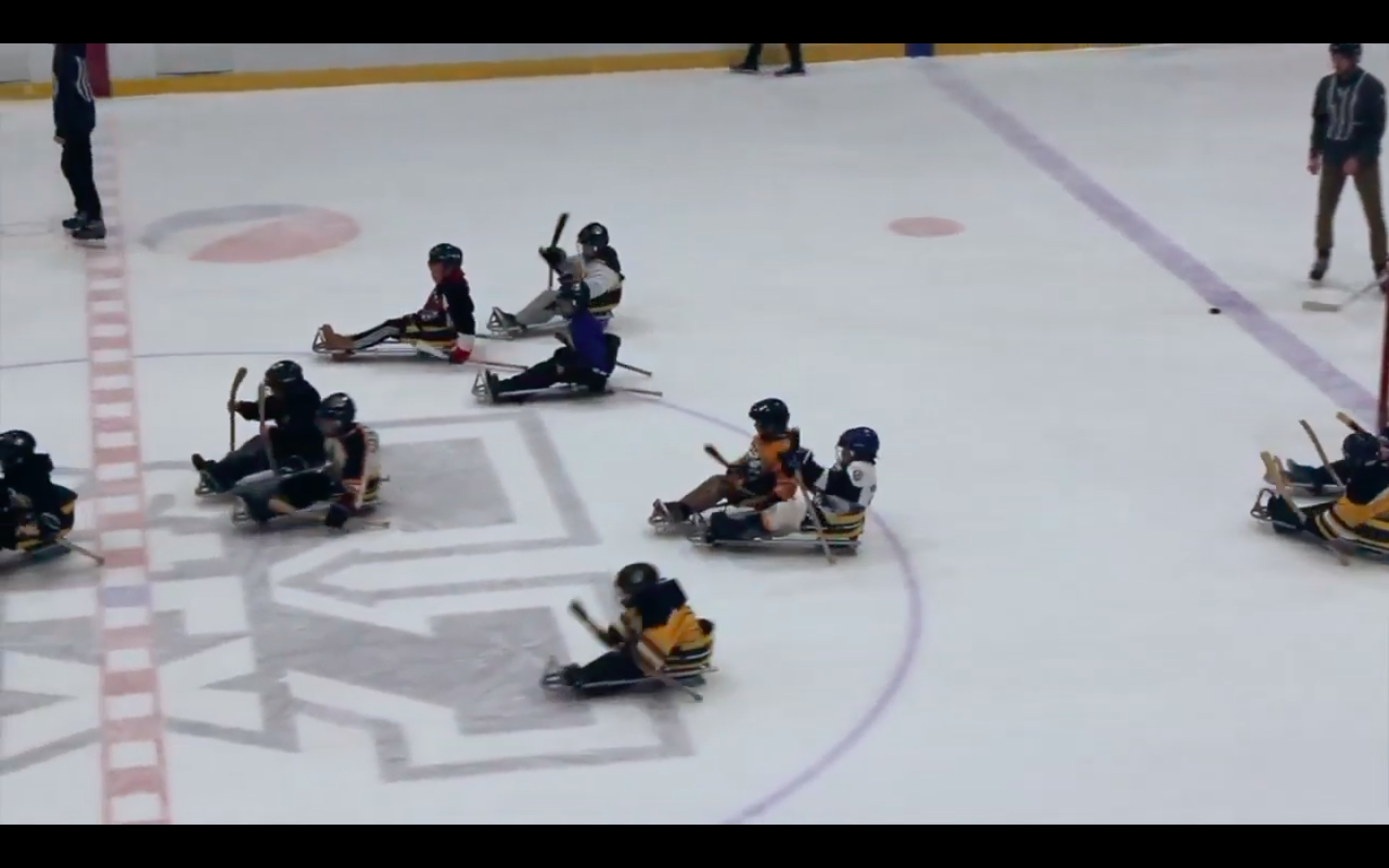 sledge hockey practice playing asteroids
