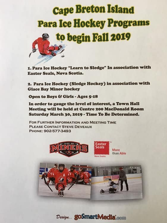poster with event info on it for cape breton town hall meeting for para ice hockey